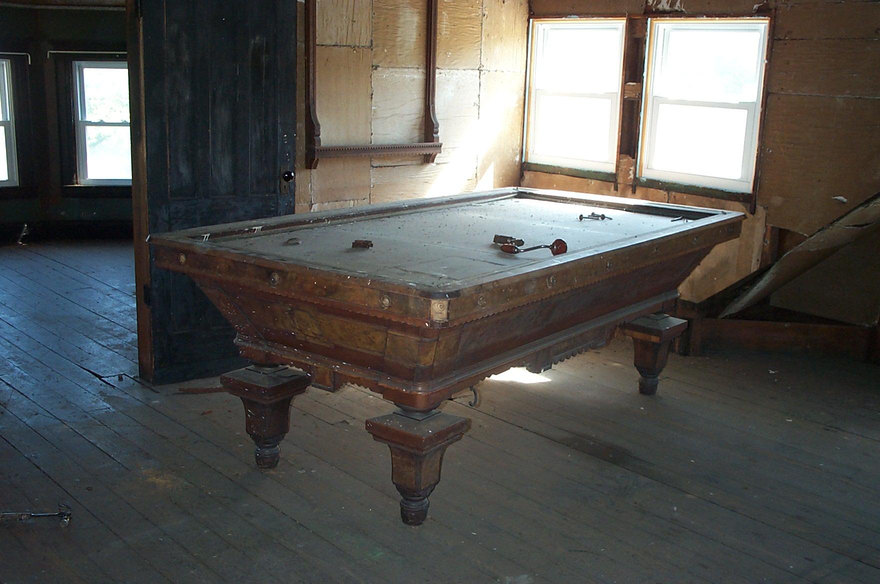 Bankshot attic antique billiard pool table restoration - Pool restoration ...